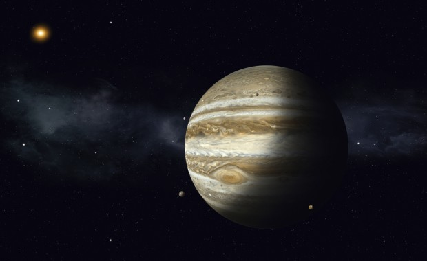 solar system gas giant jupiter with moons
