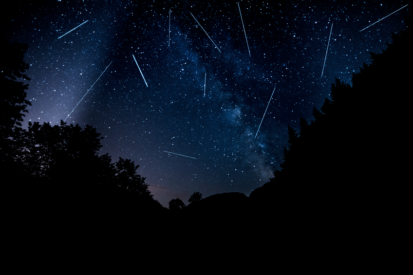 perseids in night time