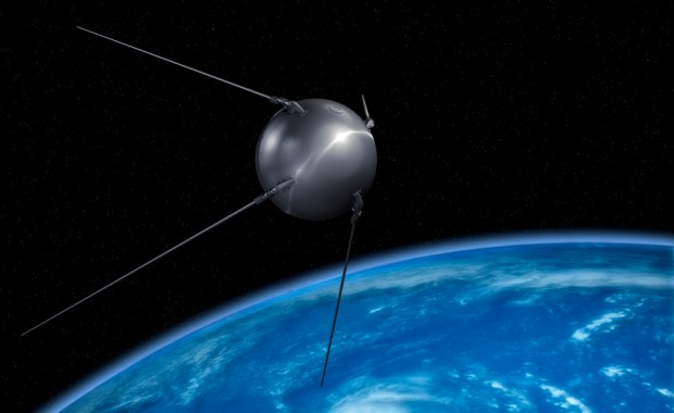 Sputnik satellite on earth orbit.
