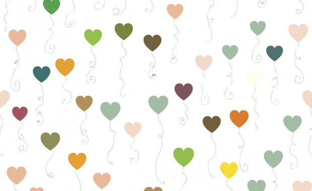 Seamless pattern of the pastel colored heart shaped balloons