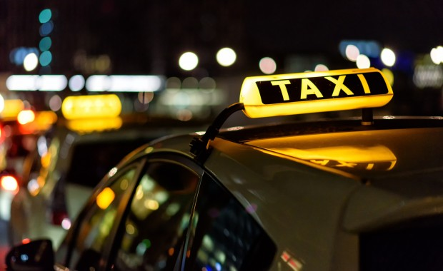 Taxi waiting at a taxi stand
