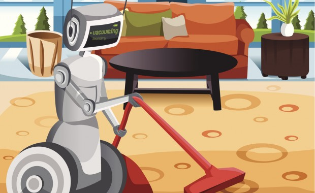 A vector illustration of a robot vacuuming carpet