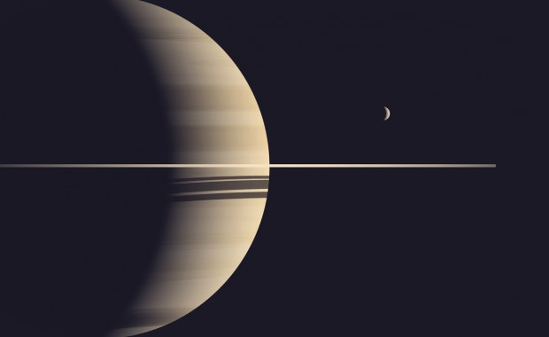 Planet Saturn with Moon