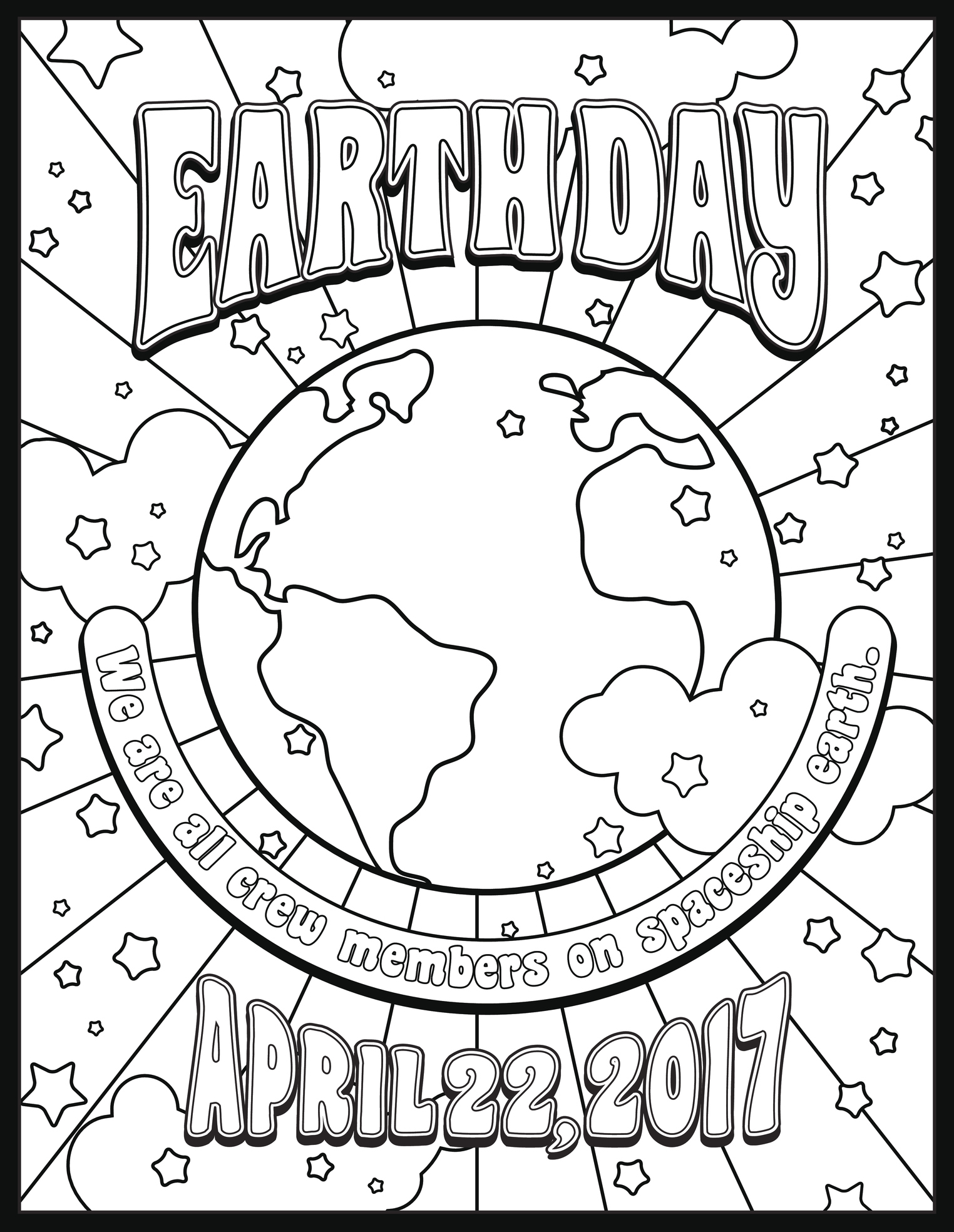Earth Day coloring page or banner design in 1960s hippie style